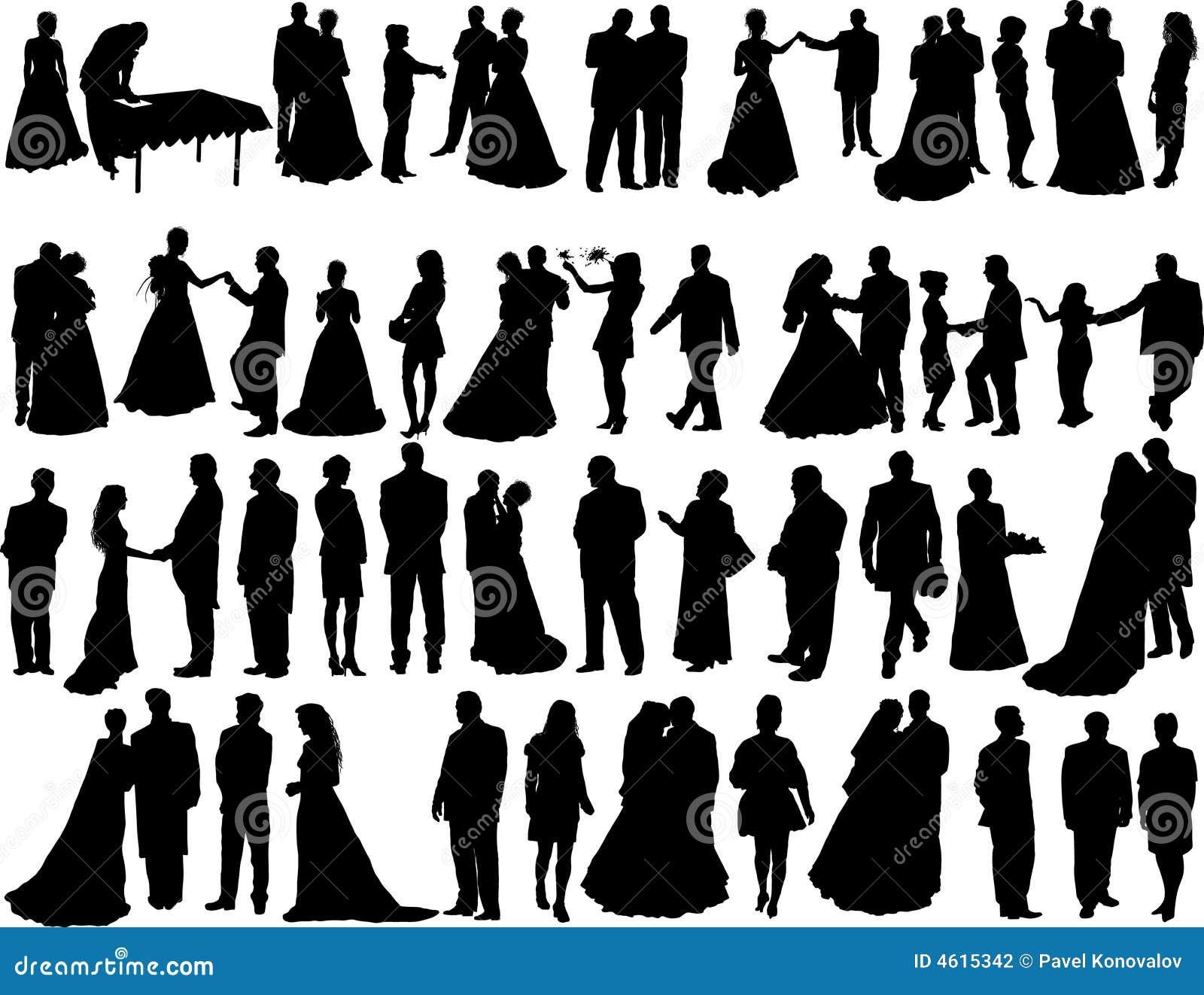 Wedding silhouettes Stock Wedding Party Silhouette