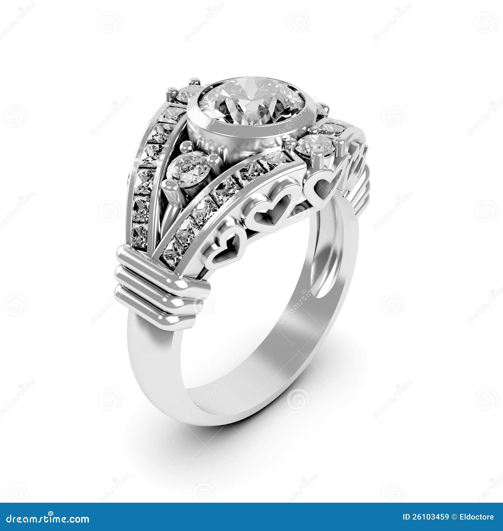 Wedding Silver Diamond Ring Stock Image - Image of diamonds, band ...