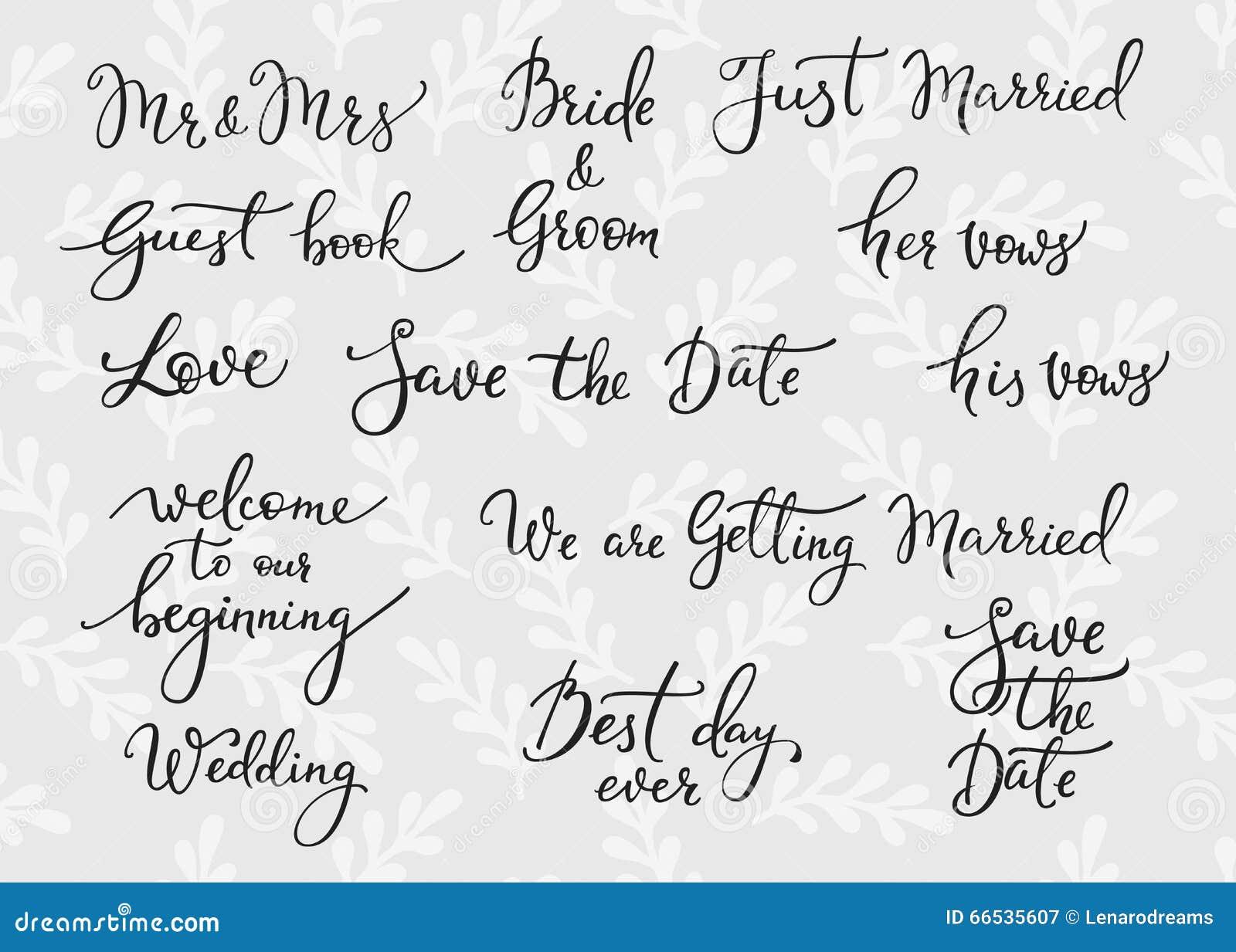 Wedding Simple Lettering Decor Stock Illustration
