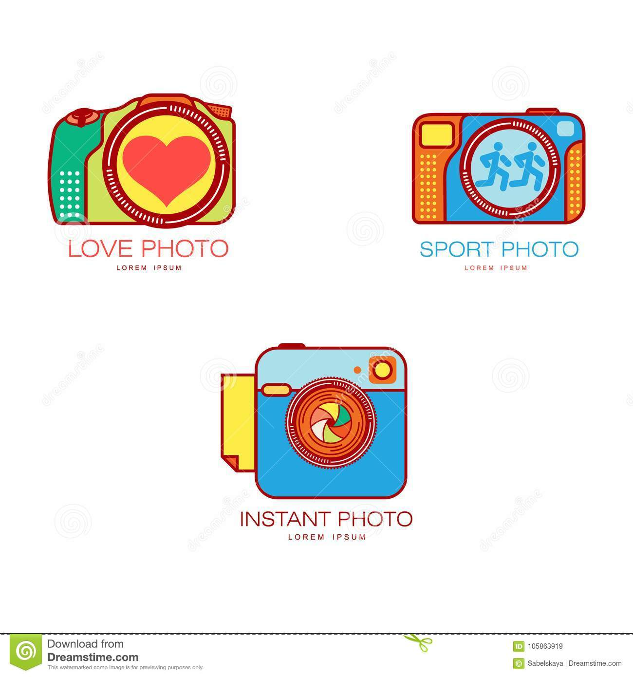 wedding sport instant photography logo templates stock vector