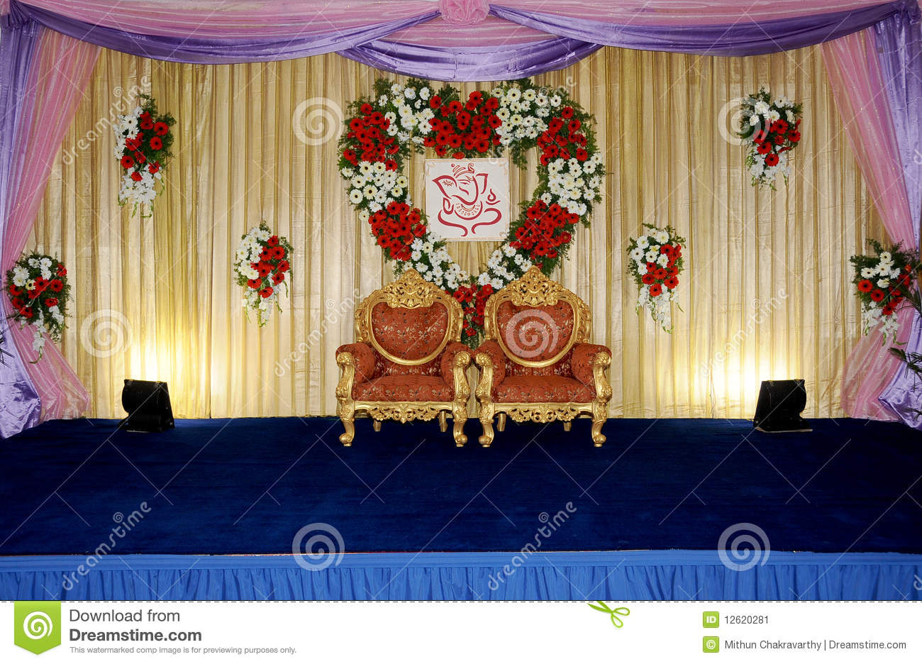wedding stage stock image image of floral designing 12620281. Black Bedroom Furniture Sets. Home Design Ideas