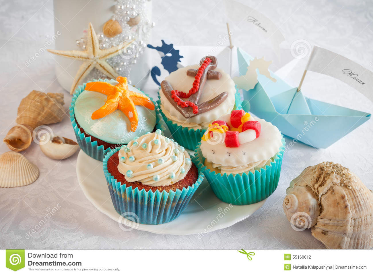 Wedding Still Life Cupcakes Paper Boats And Wine Stock Photo
