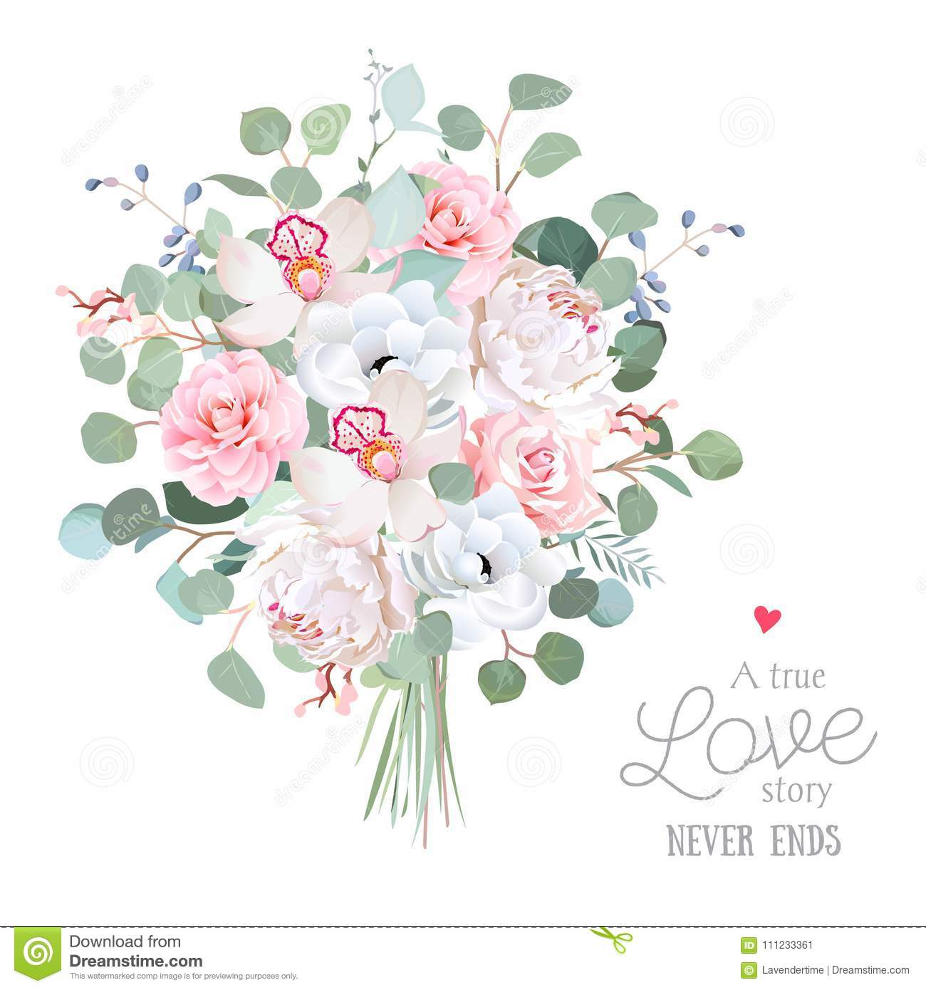 Wedding Style Flowers Bouquet Stock Vector Illustration Of Foliage