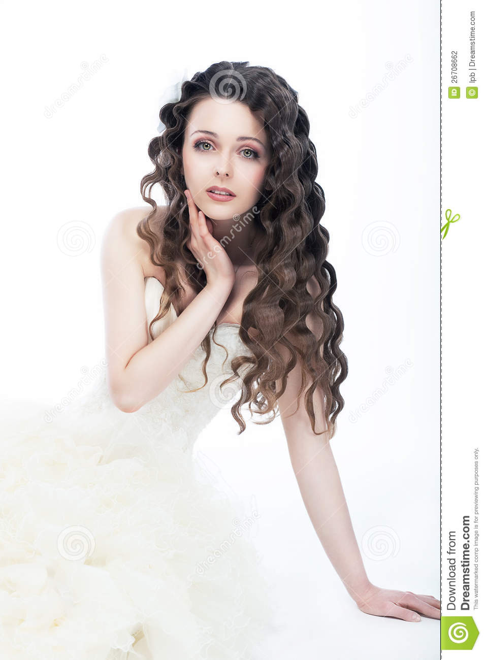 Wedding Style. Gorgeous Woman Bride - Curly Hair Stock Photo - Image ...