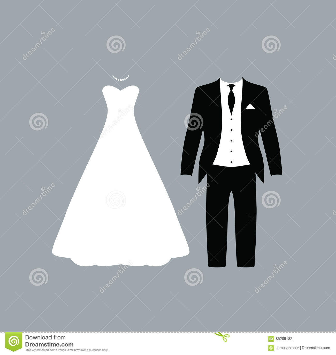 Wedding suit and dress stock vector. Illustration of card - 85289182