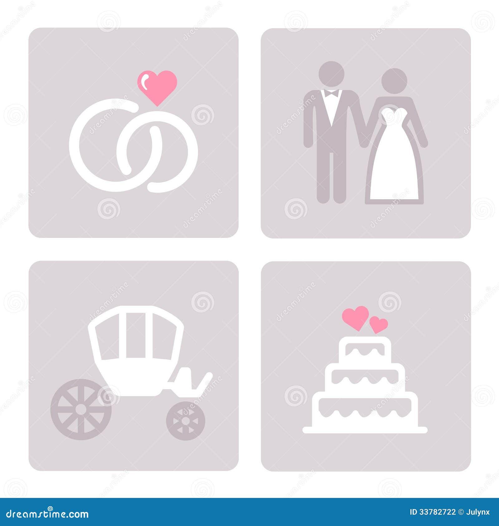 Wedding Symbols Set Stock Vector Illustration Of Flowers