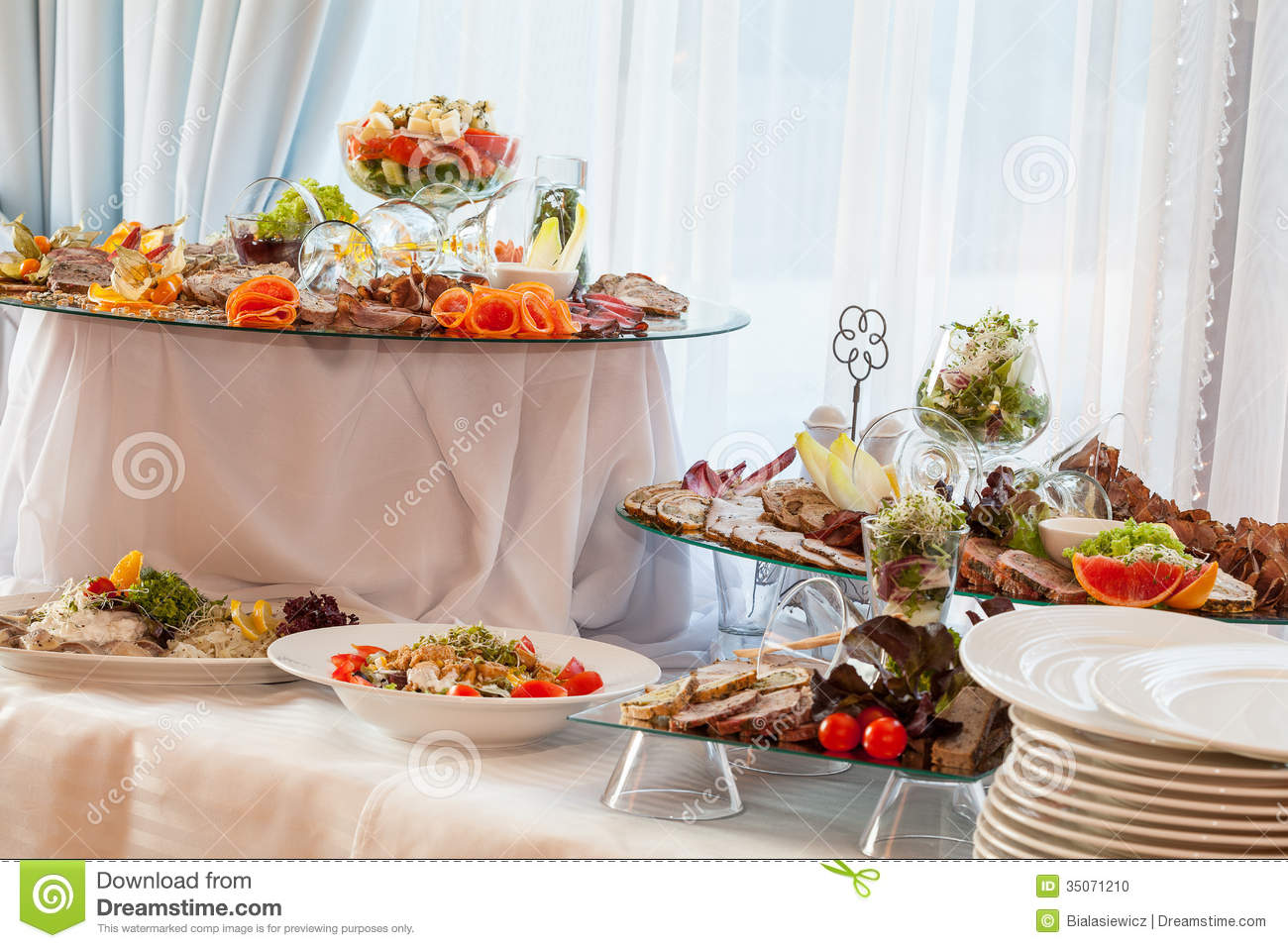 Wedding Table With Appetizers Stock Photo
