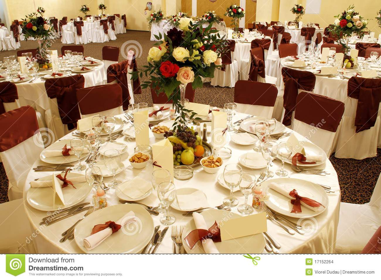 Wedding Table In Banquet Ballroom Interior Stock