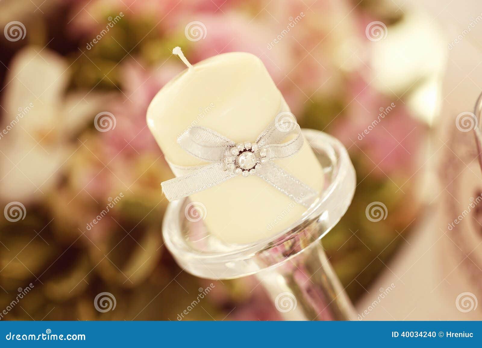 Stock Photo: Wedding table candle decoration