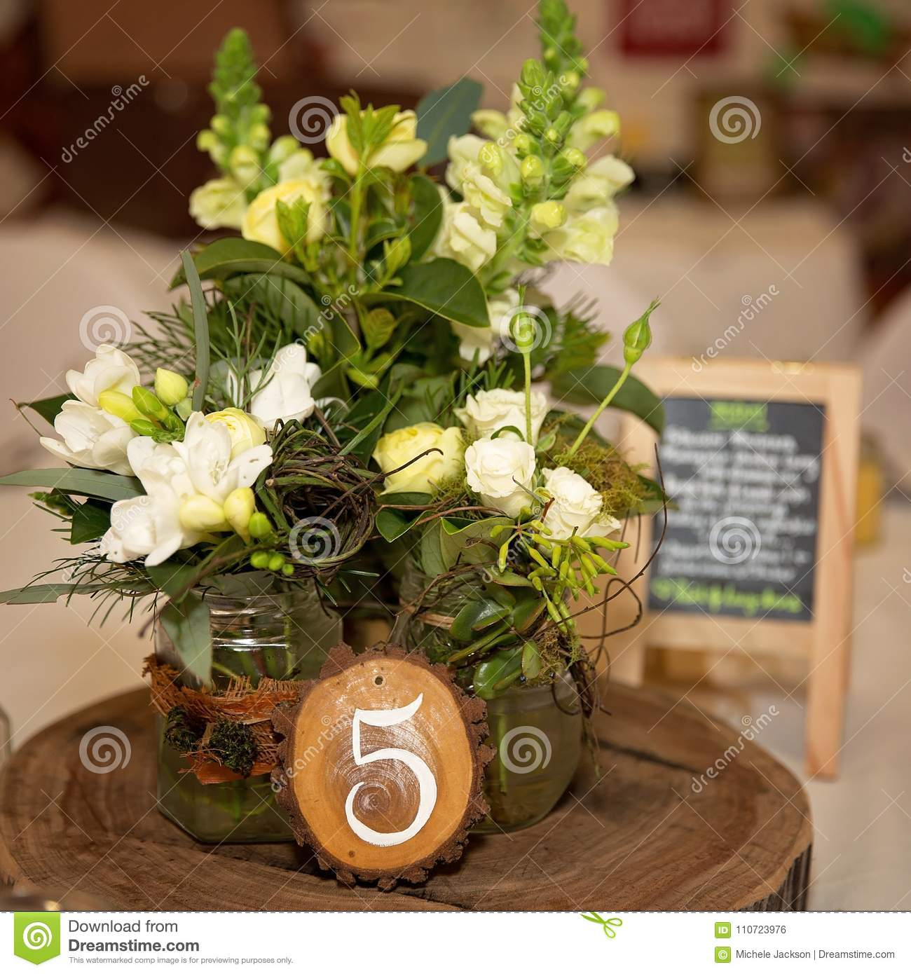 Wedding Table Center Pieces Stock Photo Image Of Painted Pieces
