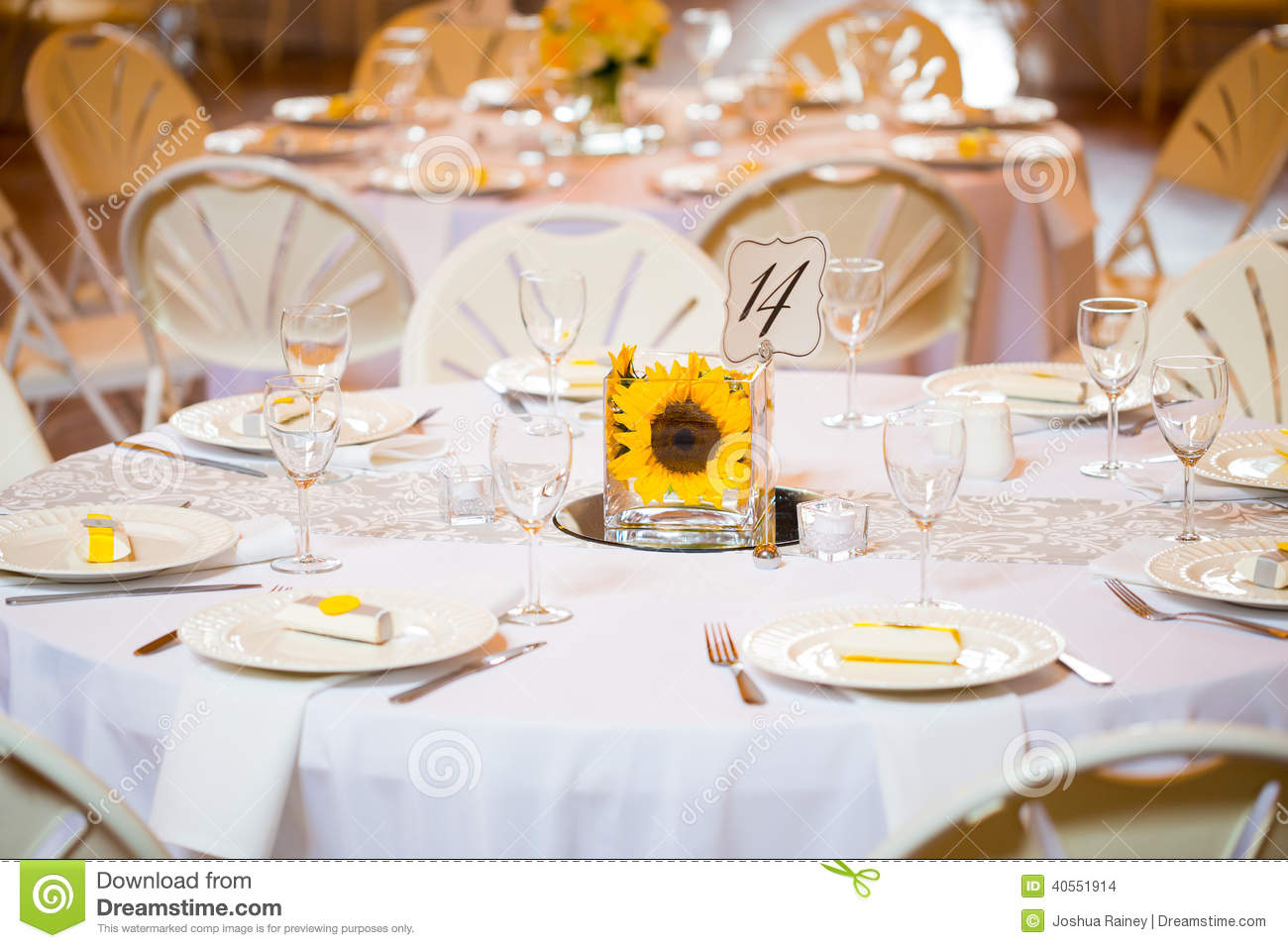 Wedding table centerpieces with flowers stock photo for Glass tables for wedding reception