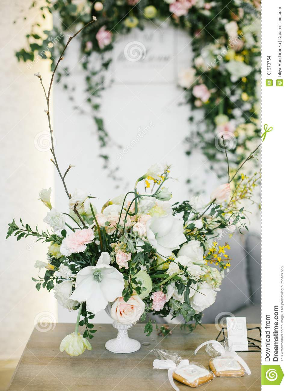 Wedding Table Centerpieces. Stock Photo - Image of elements ...