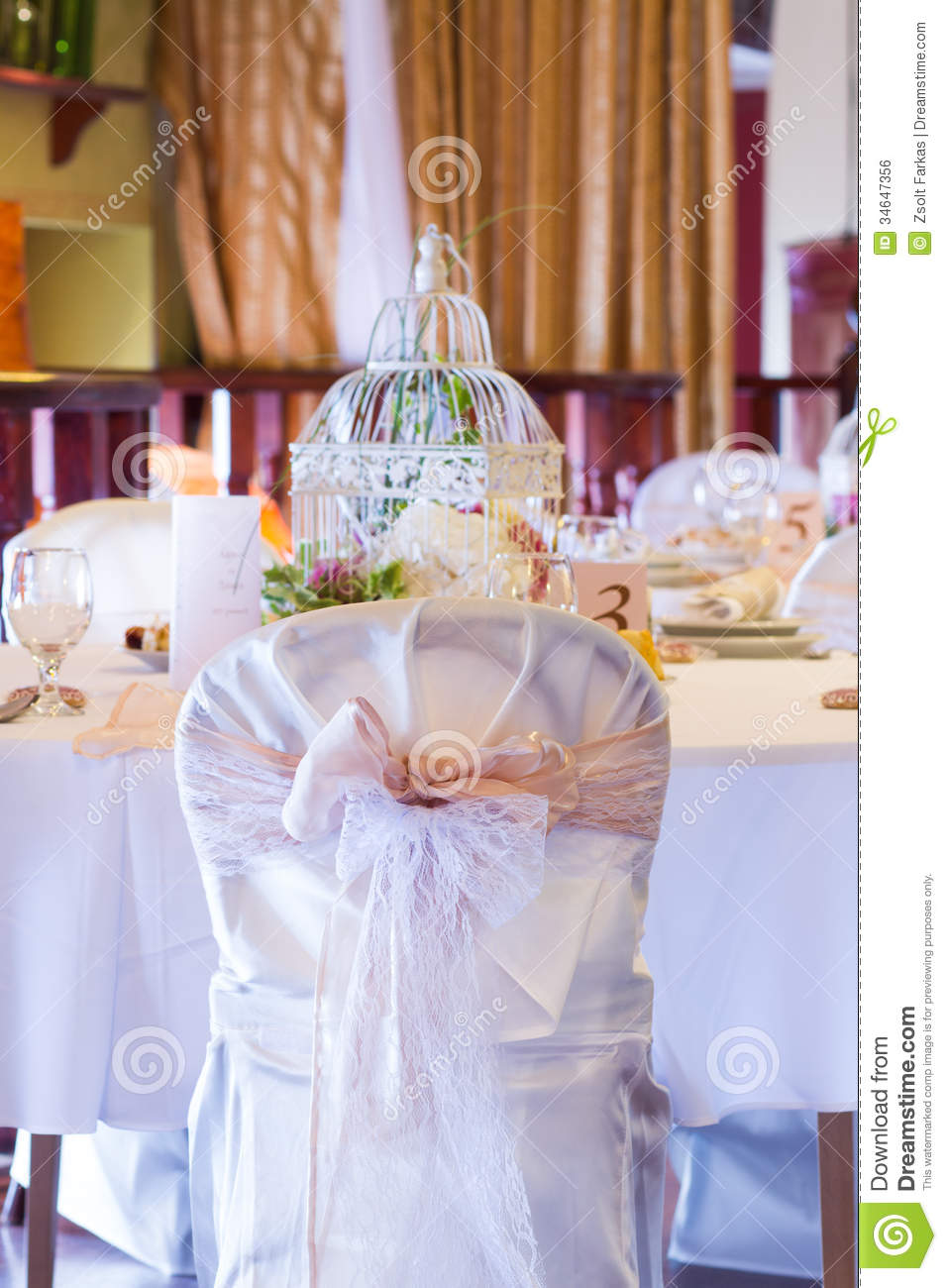 Wedding Table And Chairs With Vintage Decoration Stock