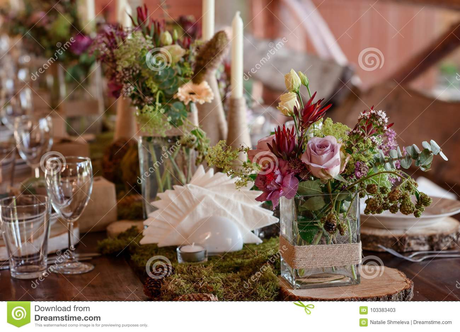 Wedding Table Decor Stock Image Image Of Style Celebrate 103383403