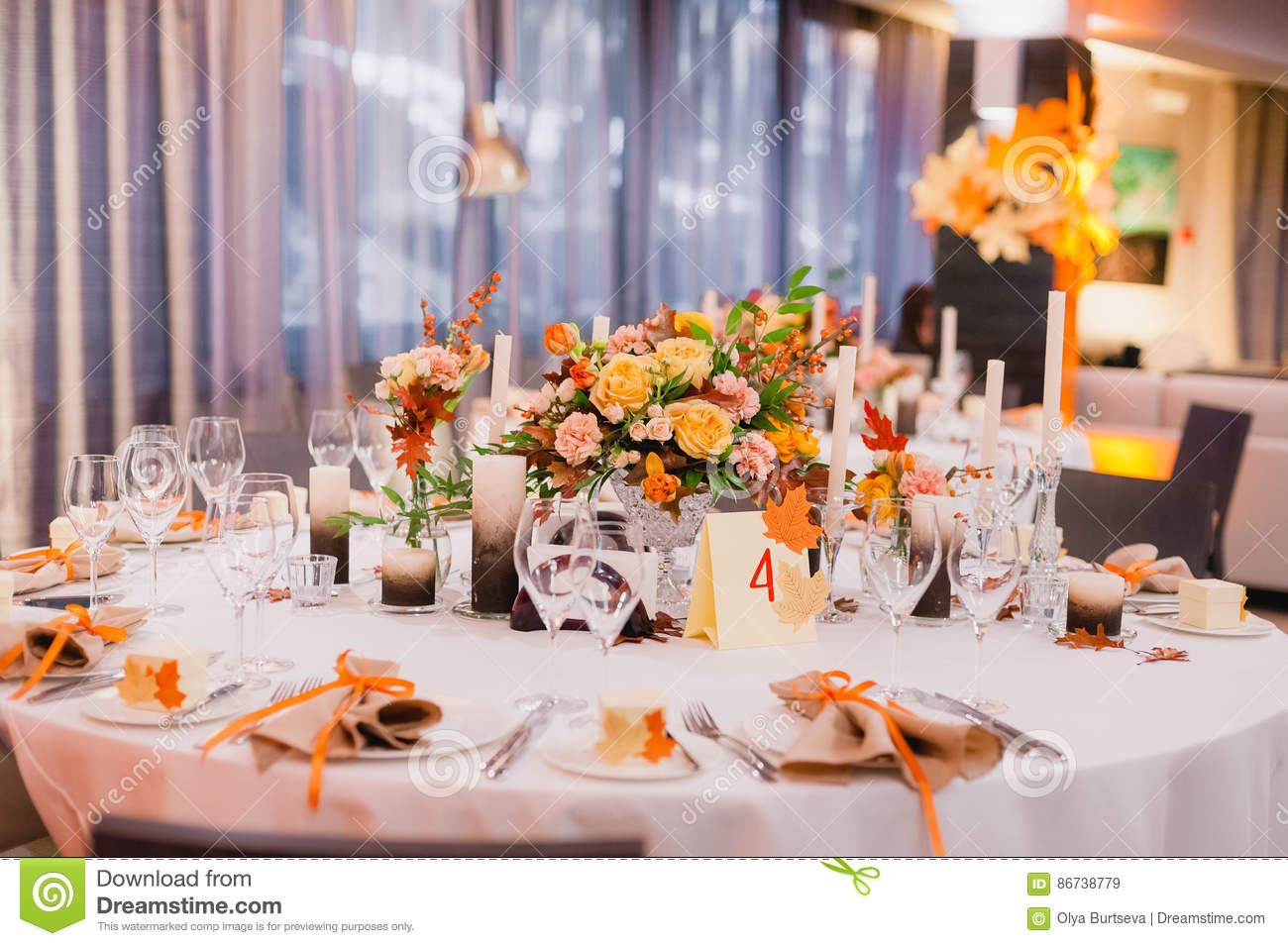 Wedding Table Decoration Stock Image Image Of Crystal 86738779