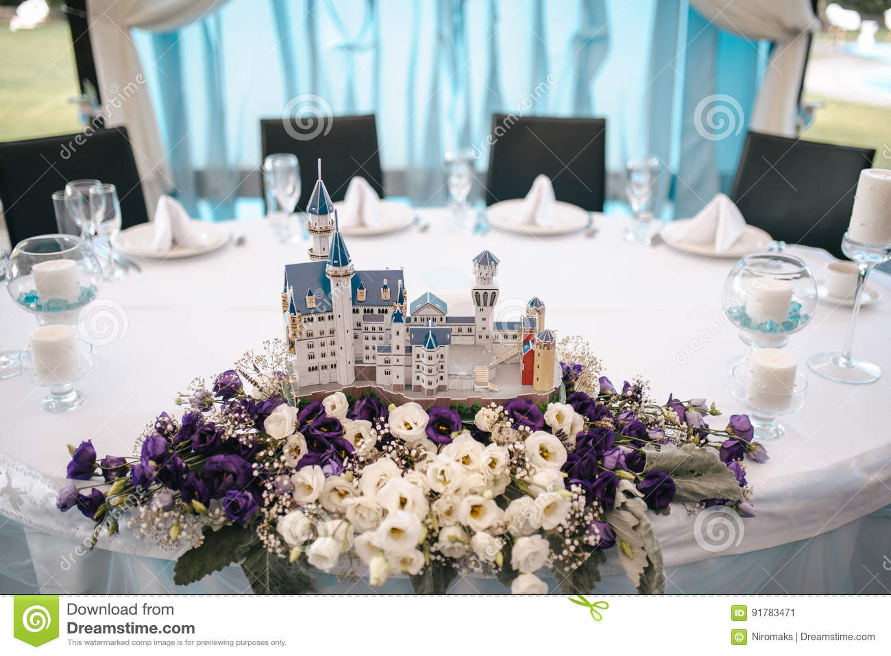 Wedding Table Decoration Elements For A Nice Banquet Stock