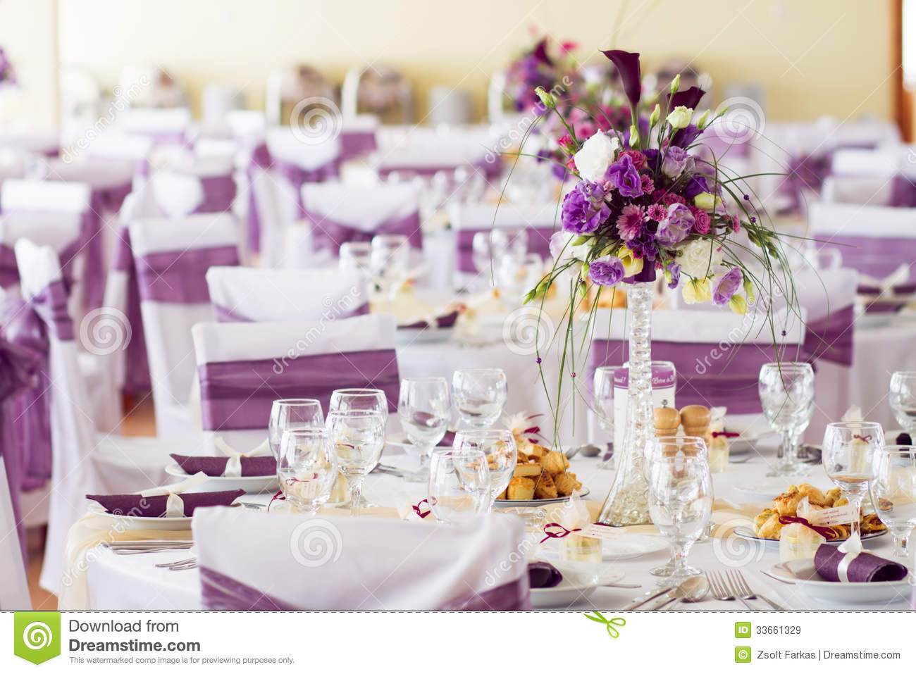 Wedding Table Decoration With Flowers. Stock Image - Image of dine ...