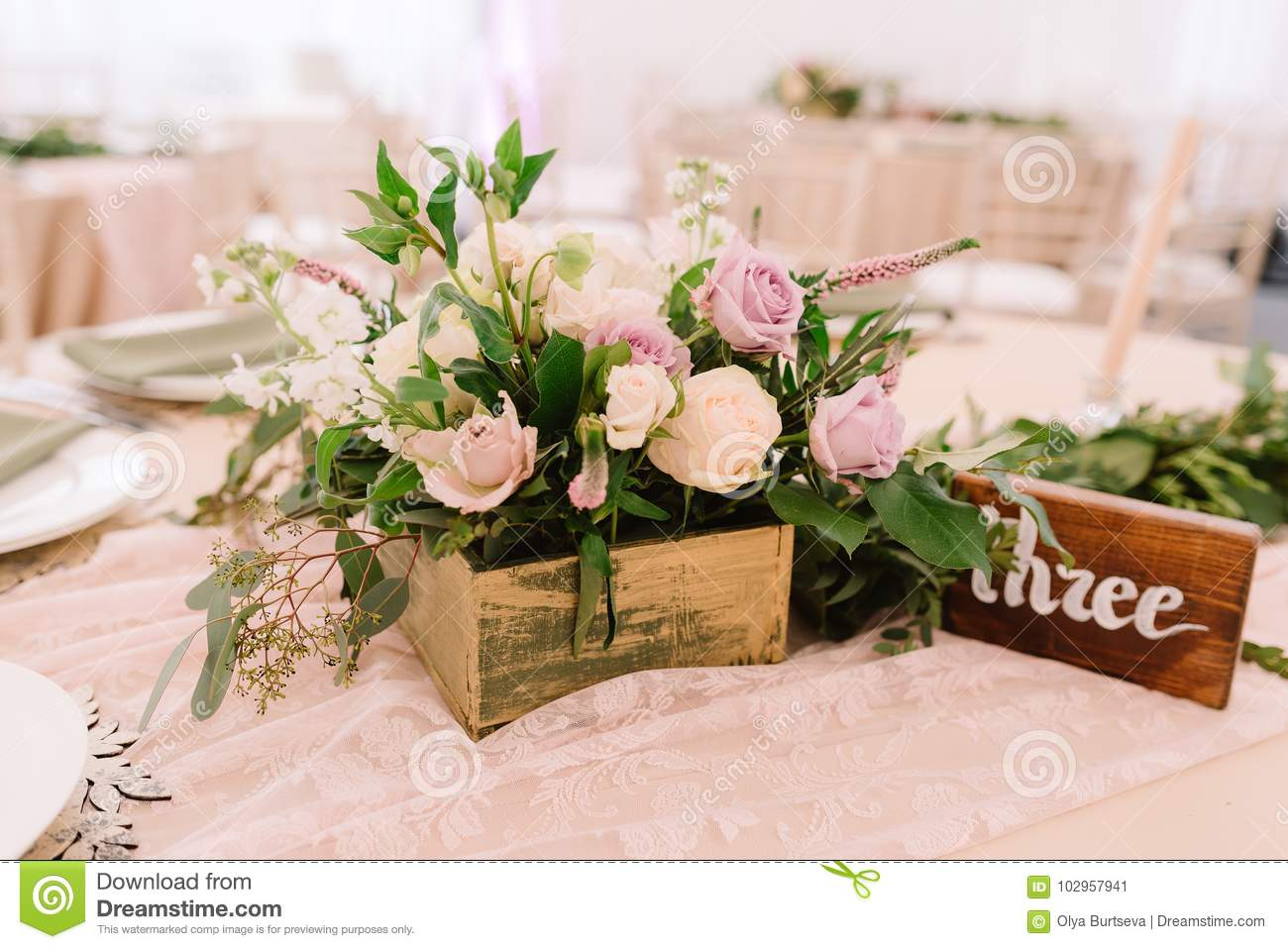 Wedding Table Decoration With Flowers In Rustic Style Stock Image
