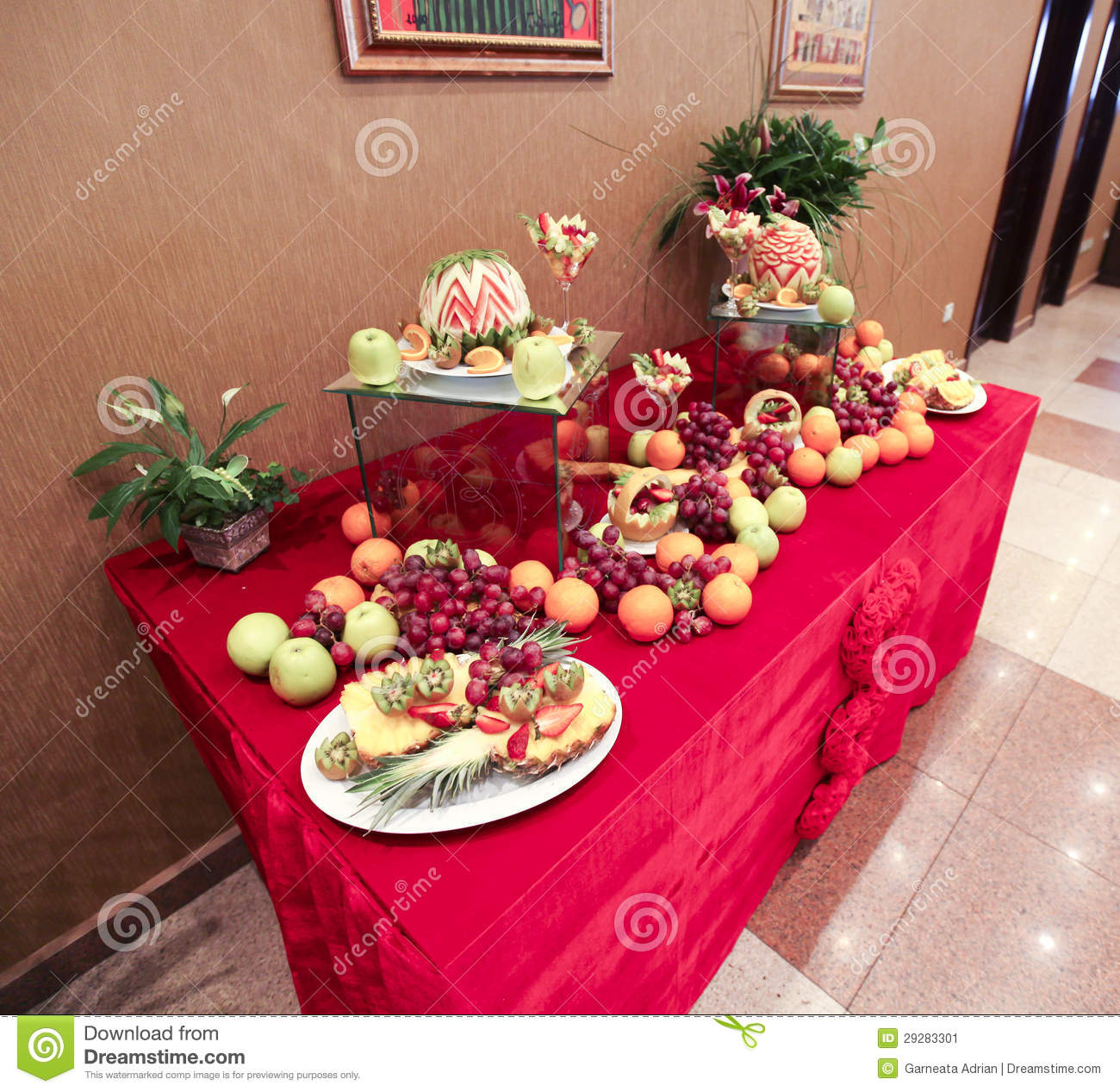 Wedding table decoration with fruits stock image image for Apples decoration