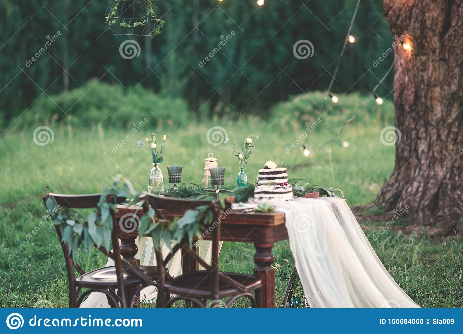 Wedding Table Decoration And Table Setting In The Field At The Pine Tree On Background Rustic Style Stock Photo Image Of Cutlery Burning 150684060