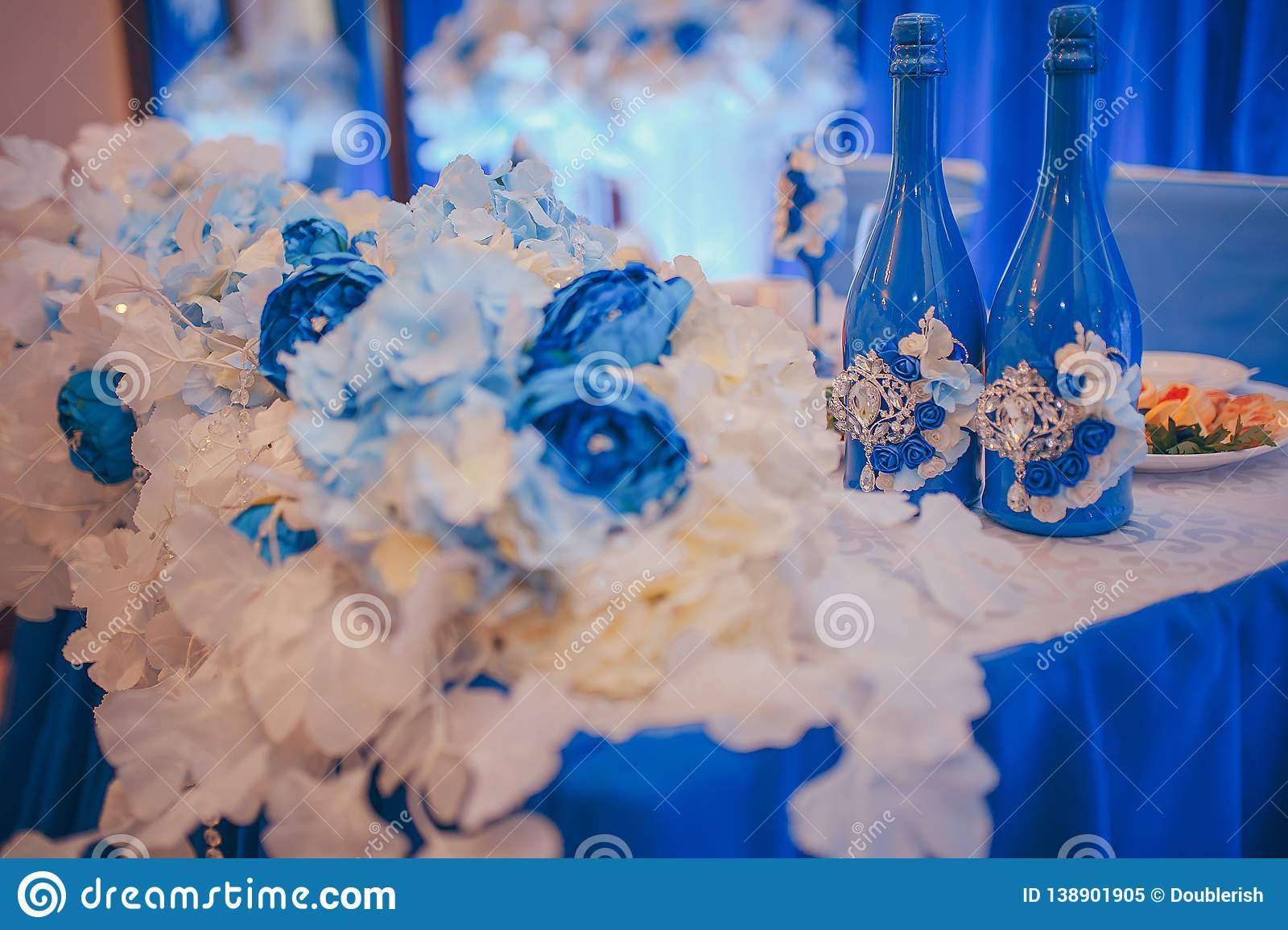 Wedding Table Decorations Blue Champagne Bottles With