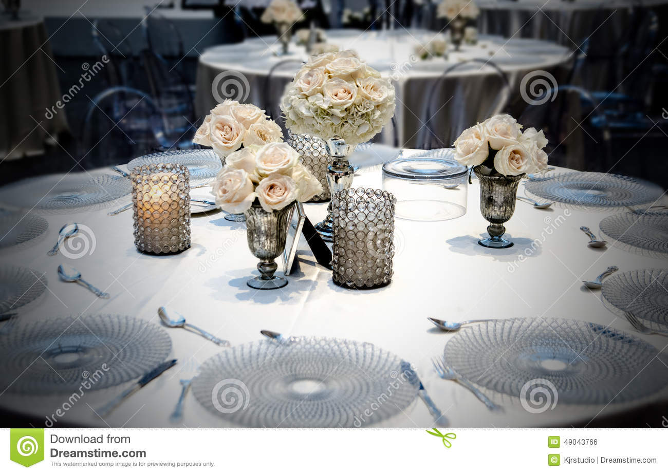 Wedding Table Dining Placement With Roses. Stock Photo - Image ...