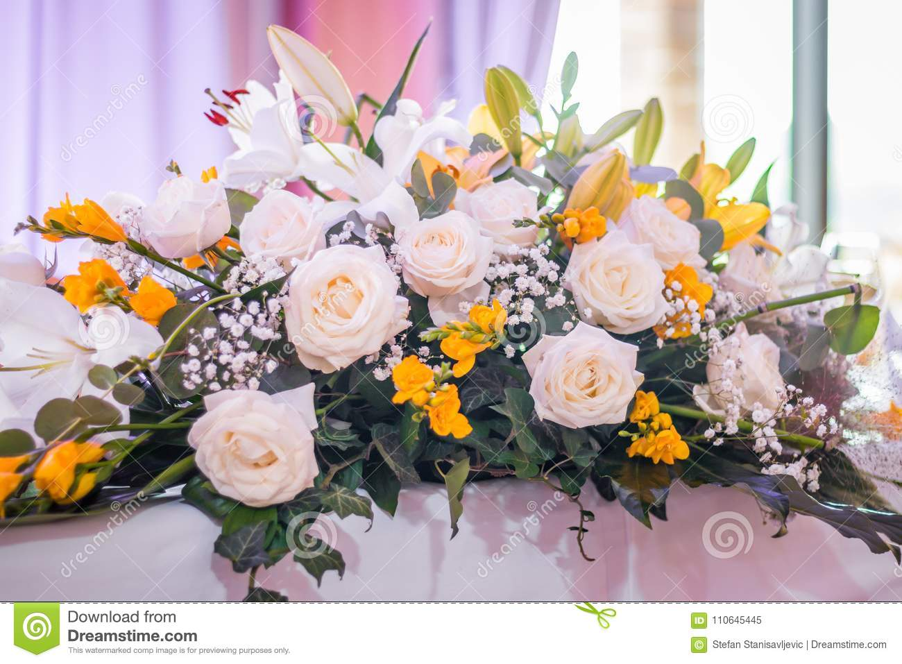 Wedding Table Flowers Stock Image Image Of Decor Party 110645445