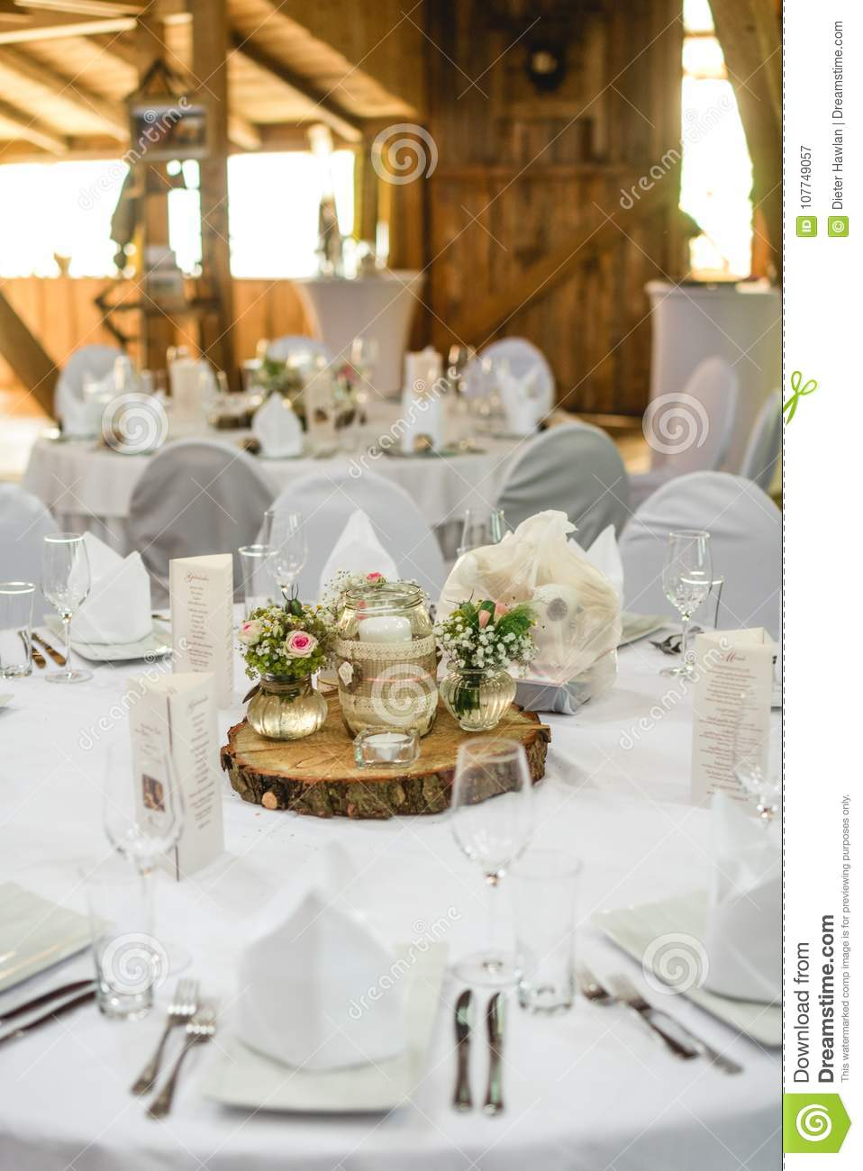 White Wedding Table With Flowers Stock Image Image Of Detail