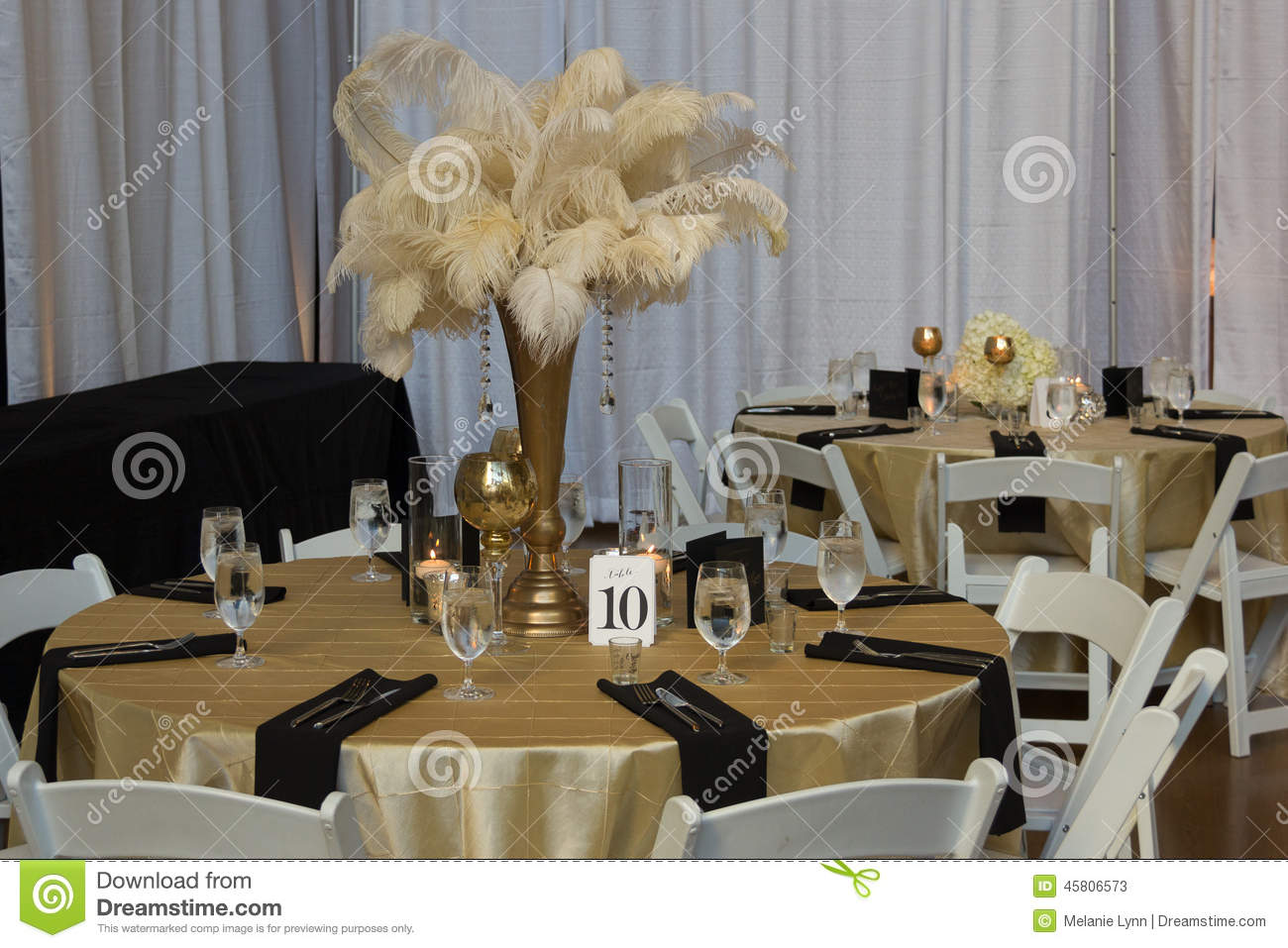 Wedding Table With Gold Accessories Editorial Stock Photo