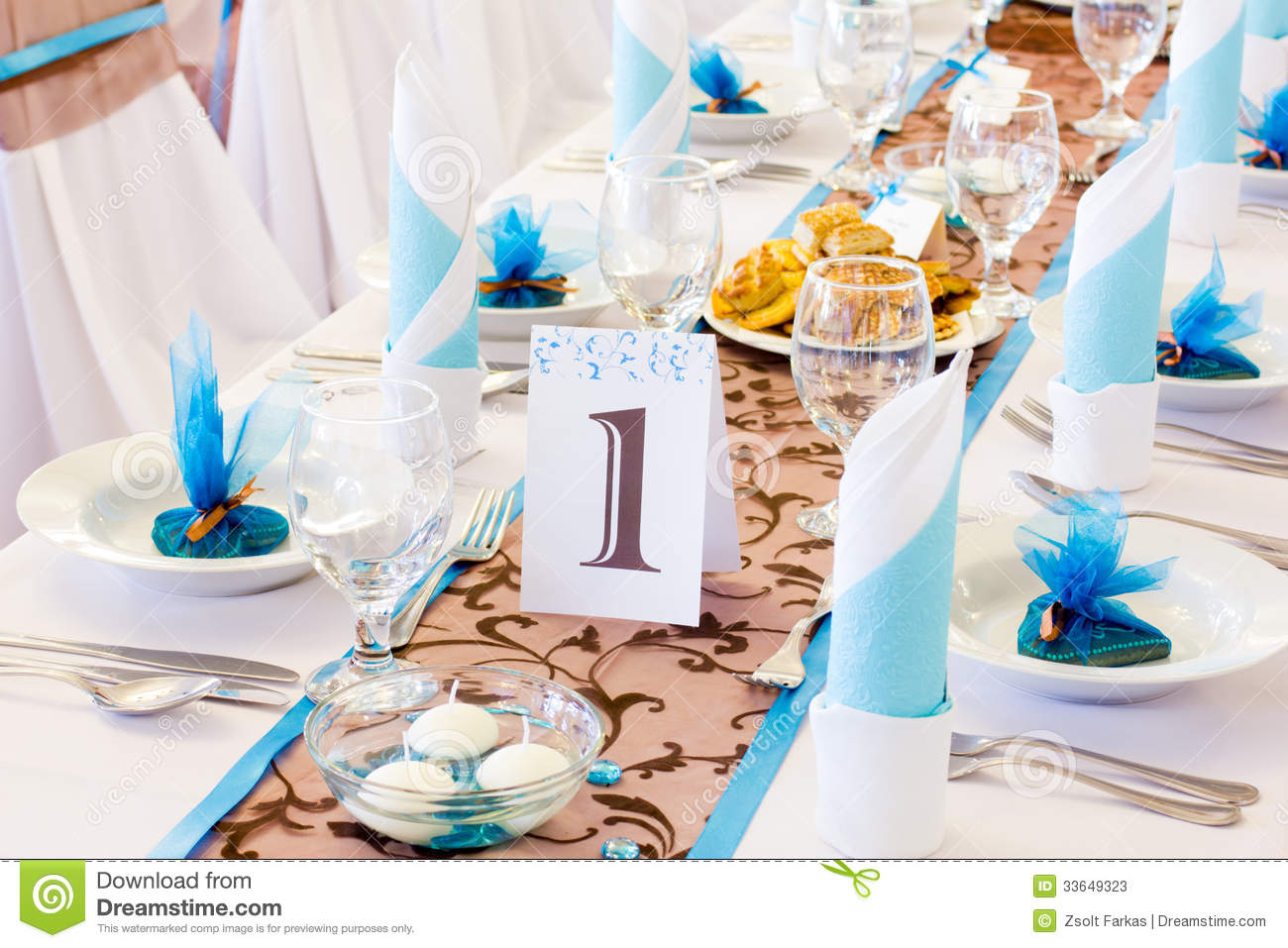 Wedding Table With Number One Stock Image - Image of candle ...