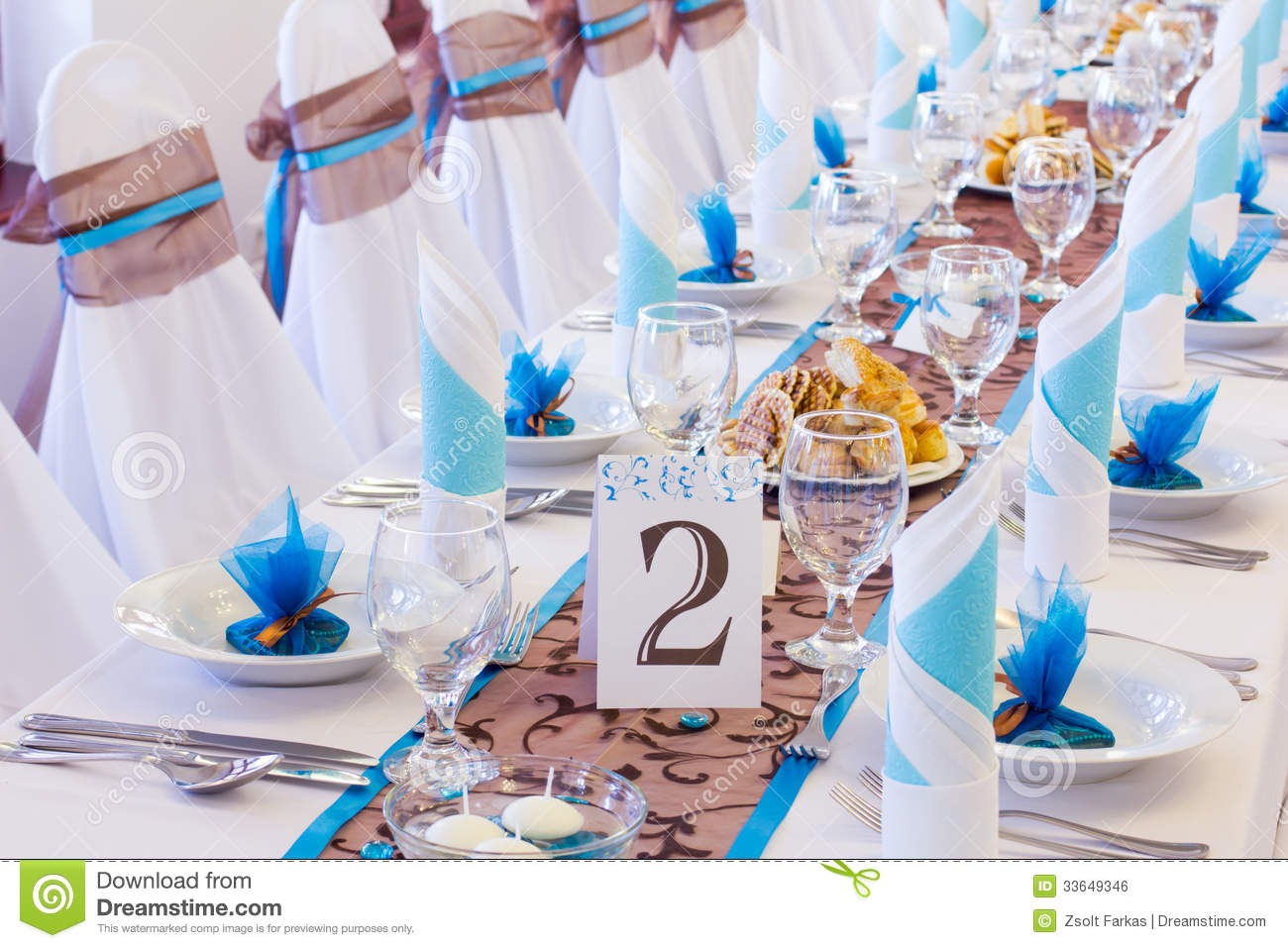Wedding Table With Number Two Stock Photo Image Of Elegant Blue 33649346