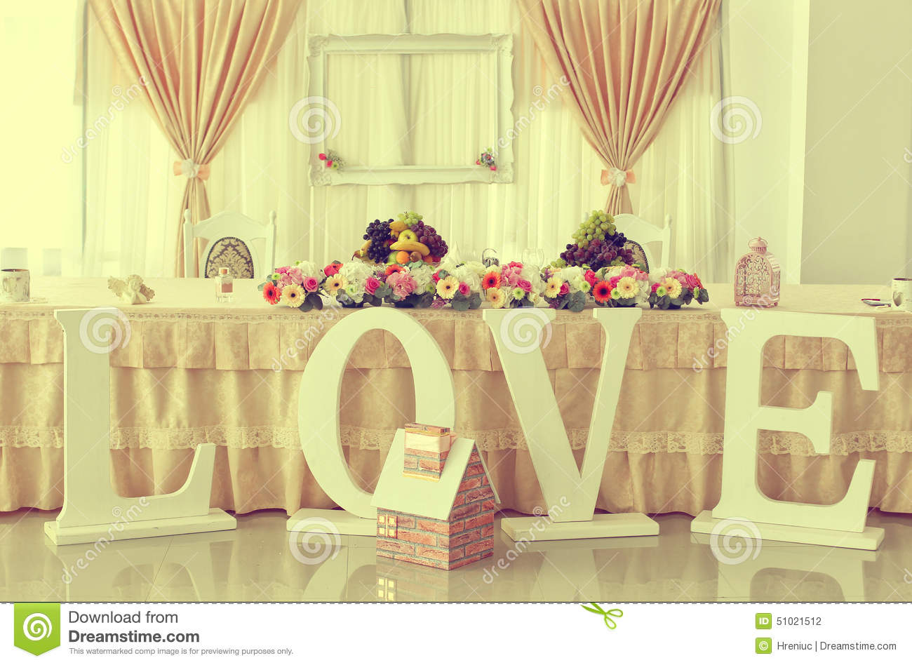 Wedding Table With Ornaments Stock Photo Image 51021512
