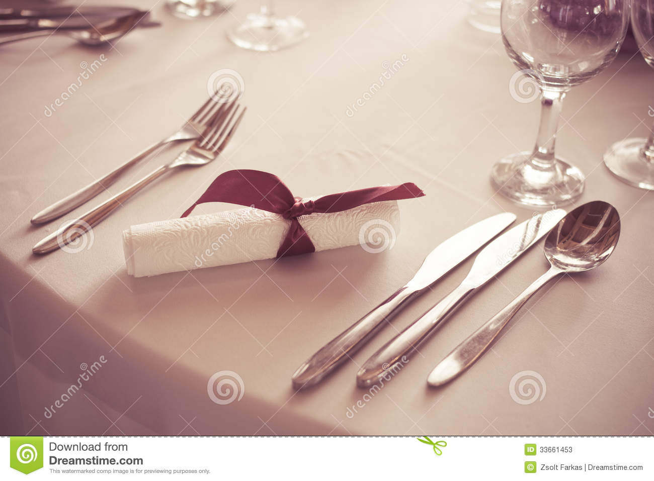 Kitchen Knife Collection Wedding Table Place Setting Cutlery Stock Photos Image