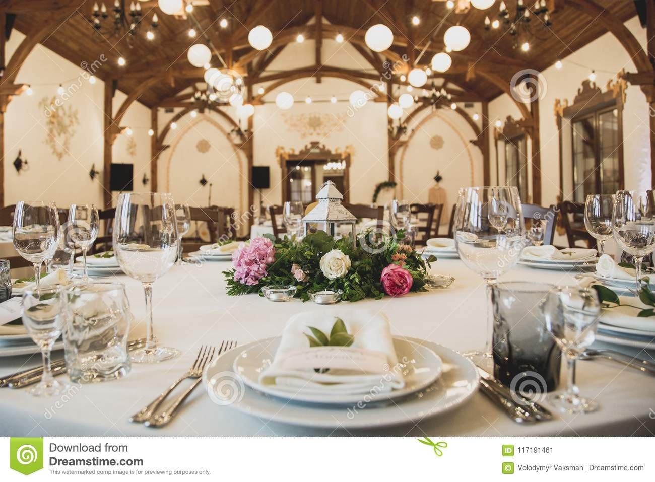 Wedding Table In The Restaurant With A Lot Of Transparent Glasses Napkins And Decoration Of Dishes Stock Image Image Of Floral Interior 117191461