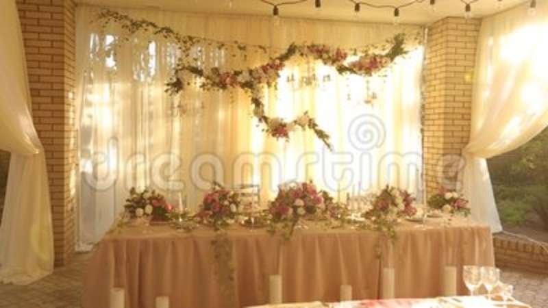 Wedding Table Rustic Style Decor With Dishes Drinks And Flowers In