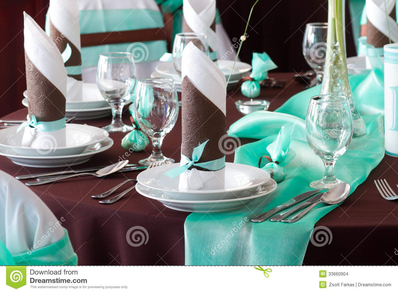 Wedding Table Set With Decoration For Fine Dining Or  : wedding table set decoration fine dining another catered event brown turquoise napkin plate cutlery 33660904 from www.dreamstime.com size 1300 x 956 jpeg 156kB