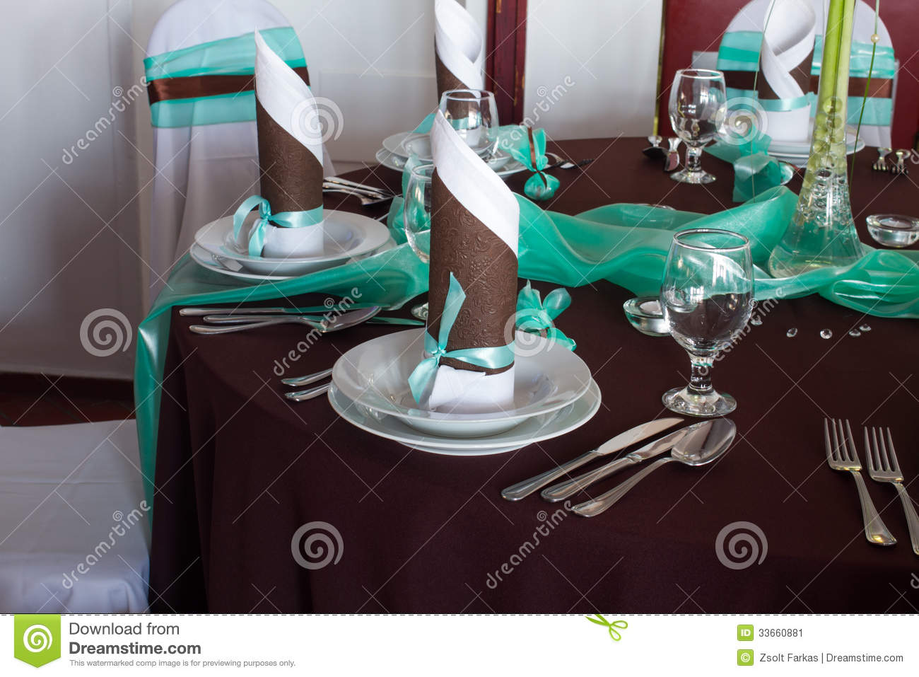 Wedding Table Set With Decoration For Fine Dining Or  : wedding table set decoration fine dining another catered event decorations turquoise brown colour napkin 33660881 from www.dreamstime.com size 1300 x 957 jpeg 142kB