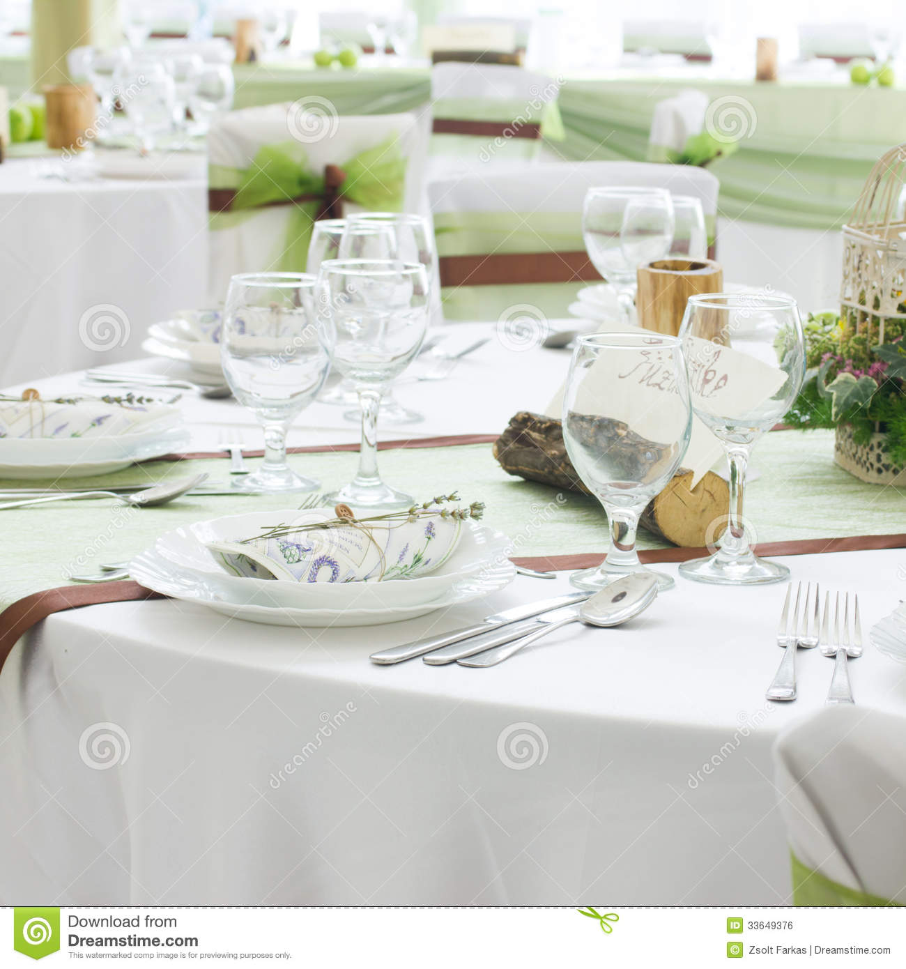 Wedding Table Set With Decoration For Fine Dining Or Another Catered Event Ro