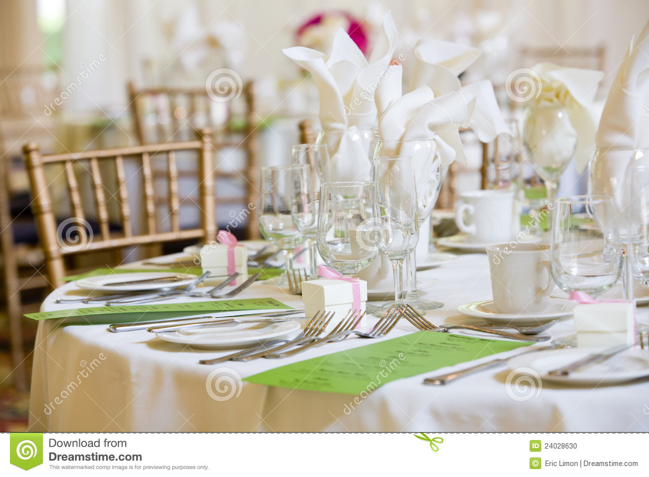 Wedding Table Set For Fine Dining Stock Photo Image