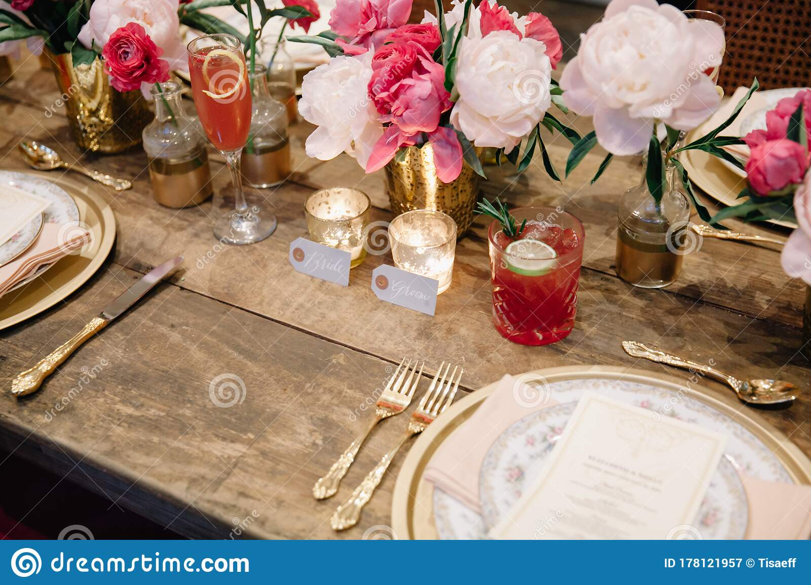 A Wedding Table Set Up For Celebration Stock Image Image Of Glass Pink 178121957