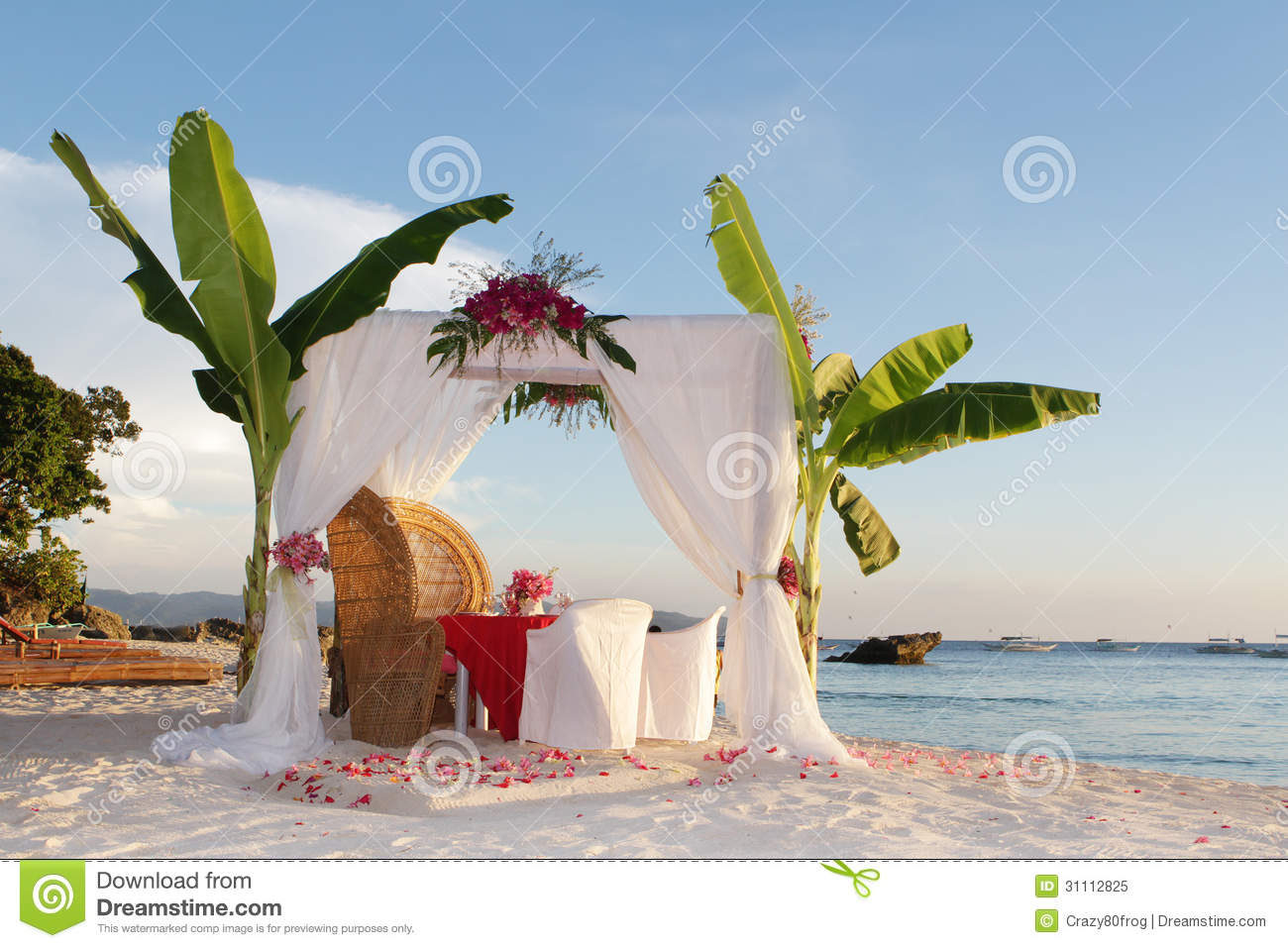 Wedding Table And Set Up With Flowers On Beach Royalty