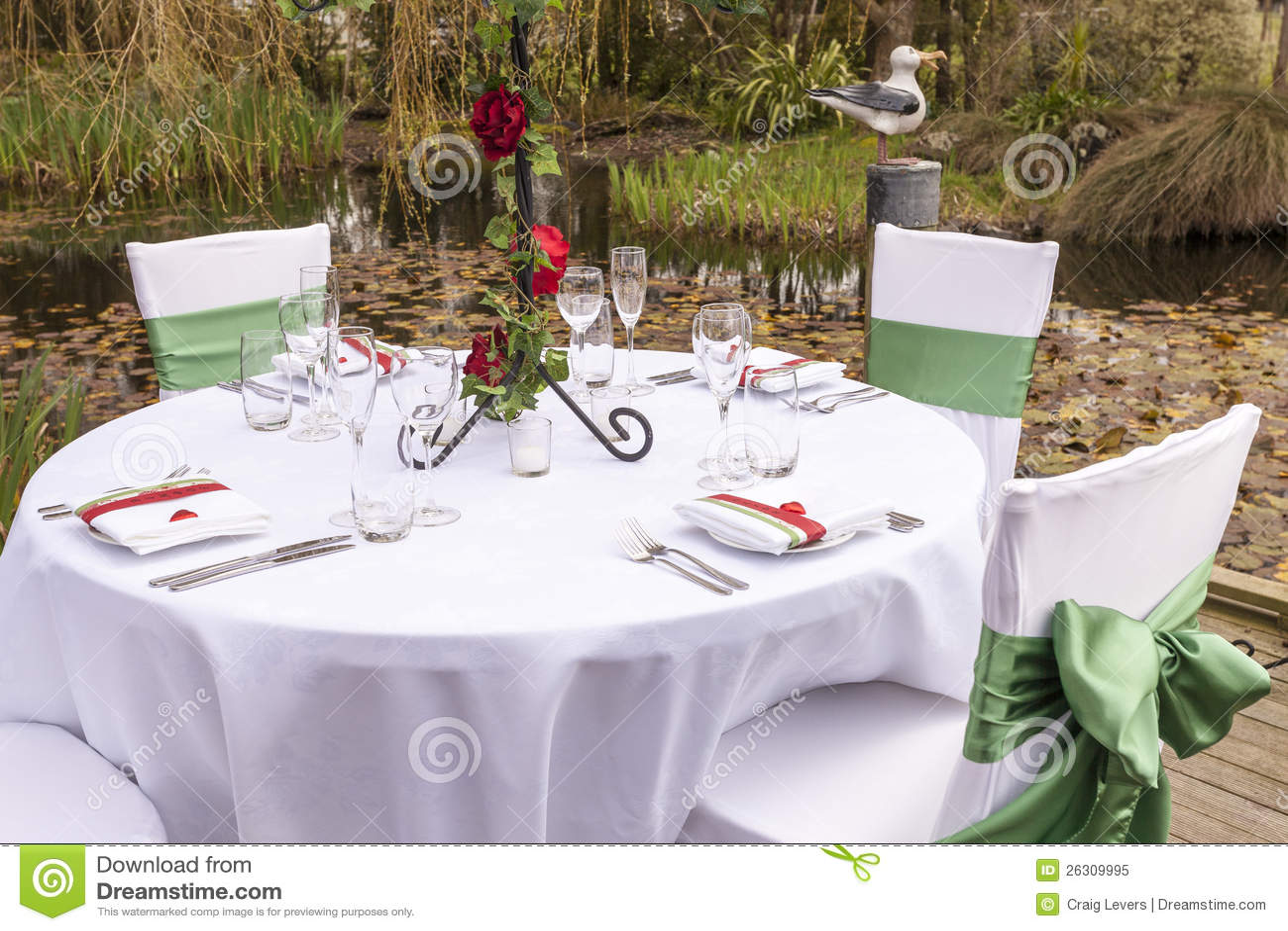 Wedding table setting 4 stock image image of pond for Garden wedding table settings