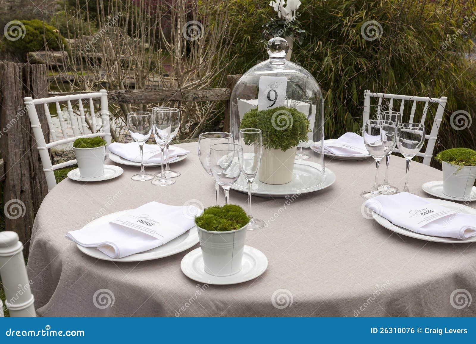 Wedding table setting 9 stock photo image of table for Garden wedding table settings