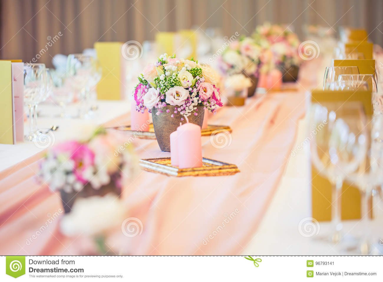 Wedding Table Setting Beautiful Table Set With Flowers And Glas