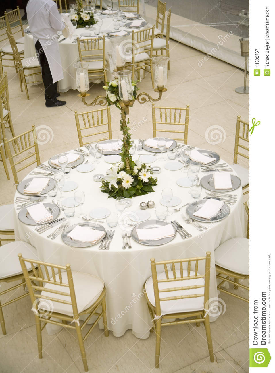 Wedding Table Setting In A Luxury Restaurant. Royalty Free Stock ...