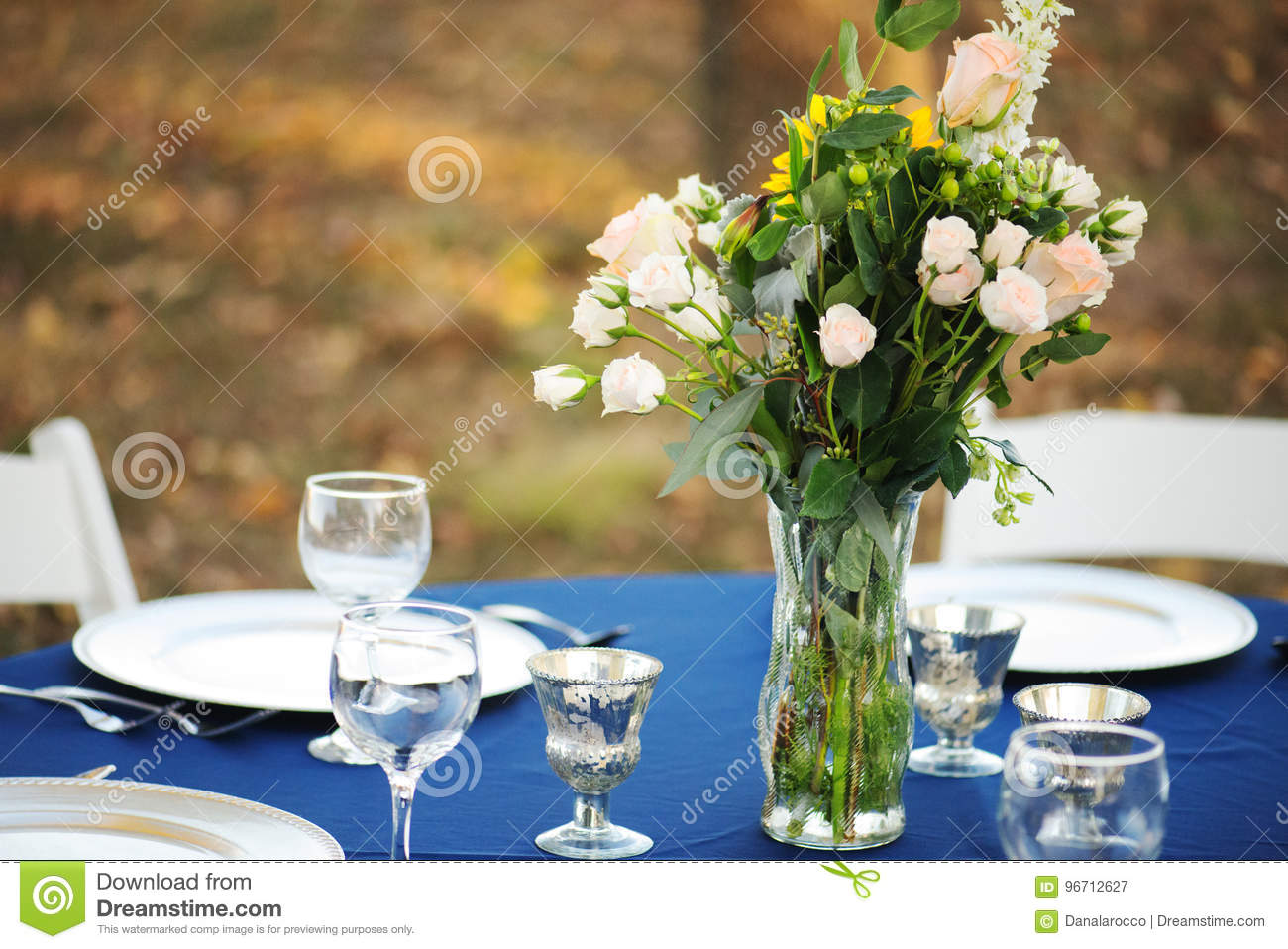 Wedding Table Setting With Pink Rose Bouquet Stock Image Image Of