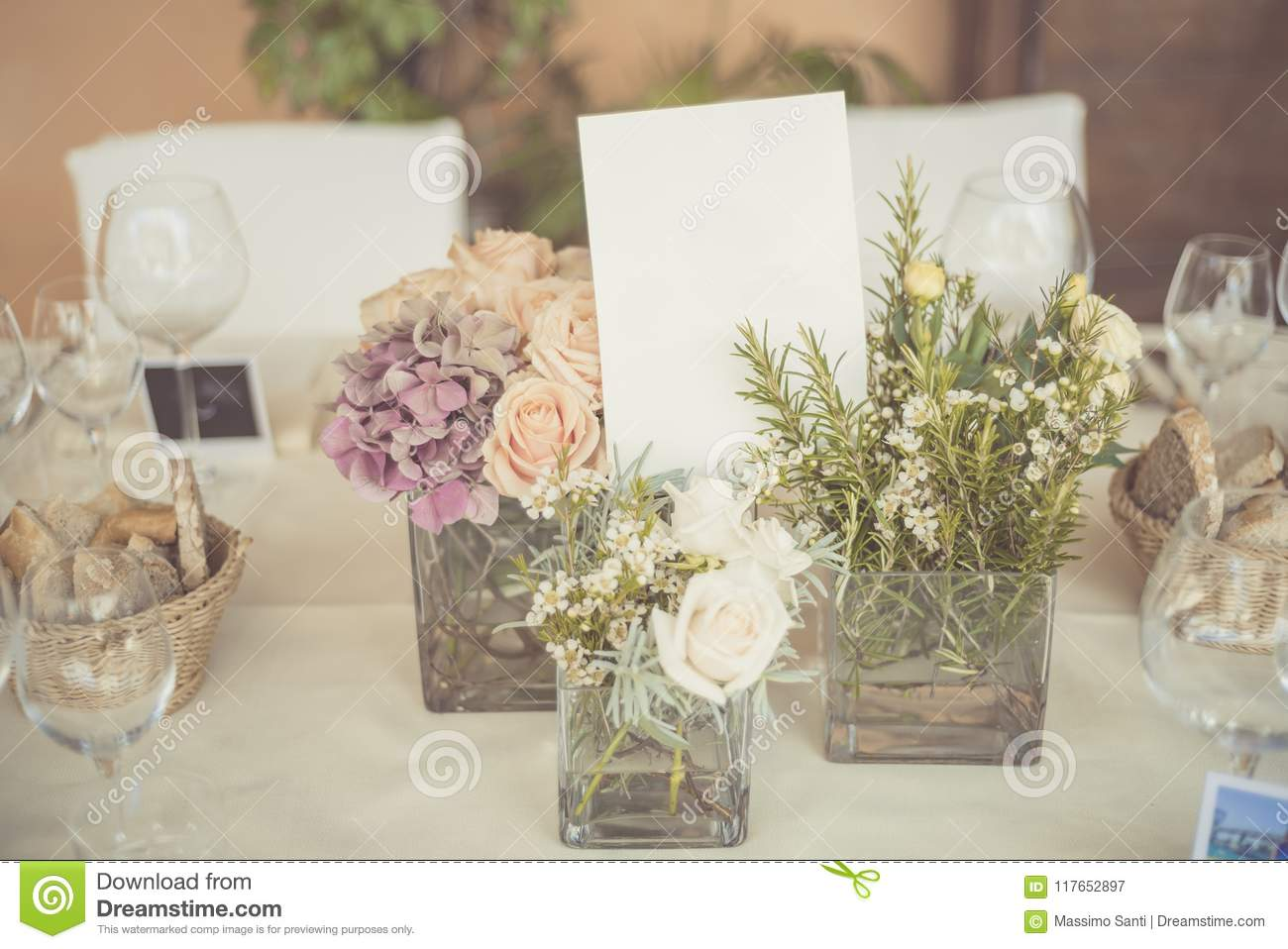 Wedding Table Setting In Rustic Style. Stock Image - Image of ...