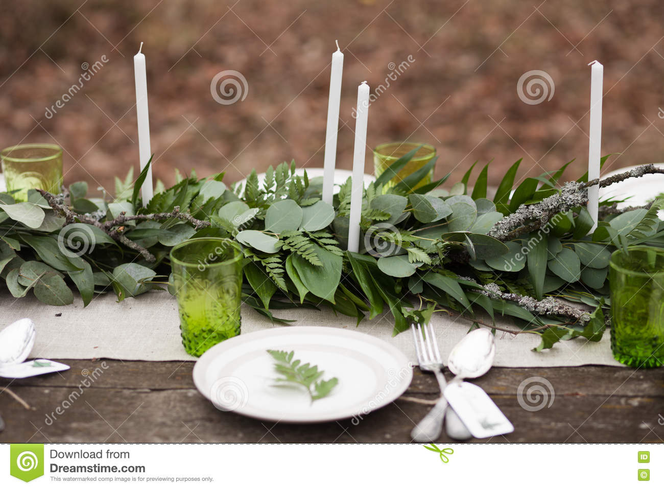 Wedding Table Setting With White Plates Stock Image