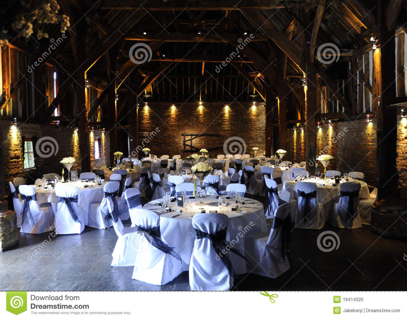 Indoor Wedding Venue Royalty Free Stock Photo: Laid Tables At Wedding Reception Stock Photo
