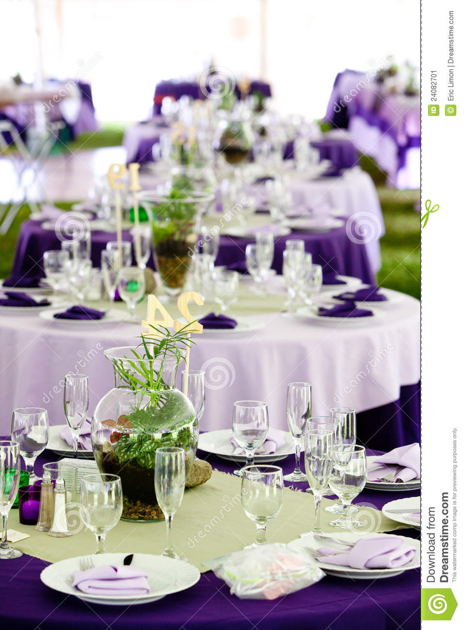 Wedding Tables - Green And Purple Stock Image - Image of table ...